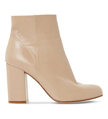 DUNE Oxbury leather heeled ankle boots (Cream-leather