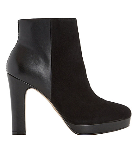 DUNE Olympe leather and suede ankle boots (Black-leather