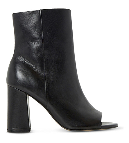 DUNE Octavia peep-toe leather heeled ankle boots (Black-leather