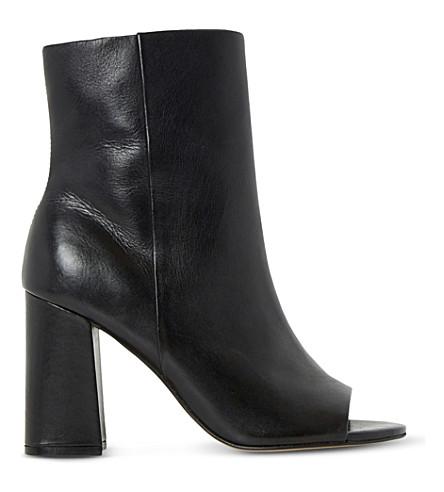 DUNE 雅欧窥视脚趾皮革与踝靴 (黑皮革