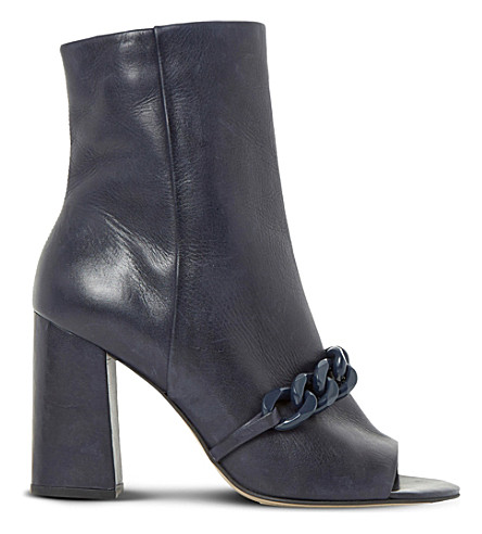 DUNE Octavia embellished peep-toe leather heeled ankle boots (Navy-leather