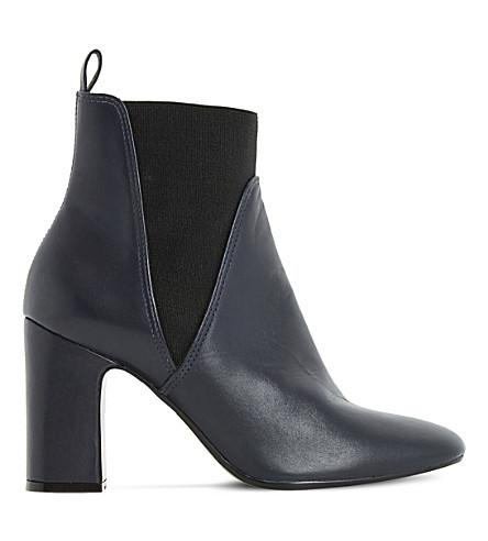 DUNE Ohio leather heeled Chelsea boots (Navy leather