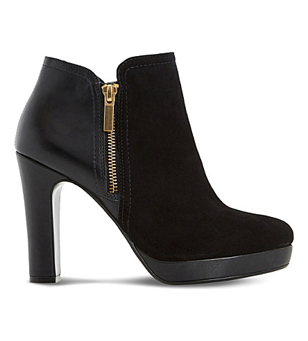 DUNE Oscar leather and suede heeled ankle boots (Black