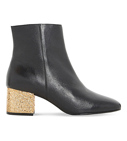 DUNE Oxbow metallic leather ankle boots (Black-leather