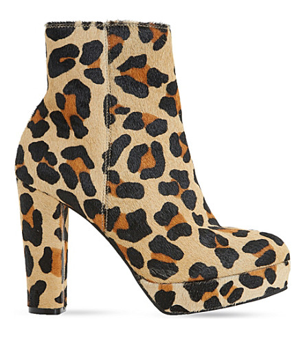 DUNE Ottawa suede ankle boots (Leopard-pony
