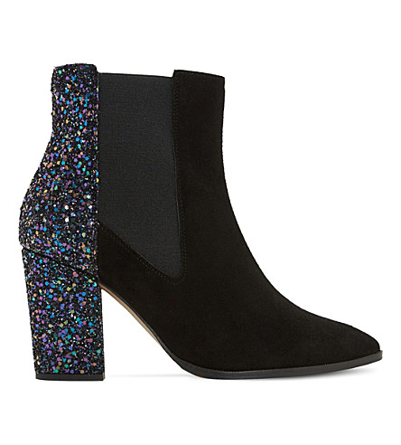 DUNE Order glitter and suede chelsea boots (Black-suede