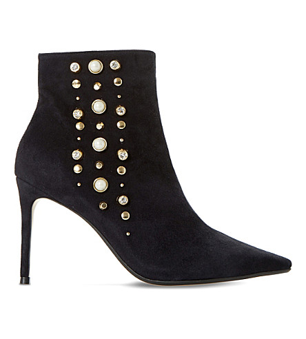 DUNE Onyxx embellished suede ankle boots (Black-suede
