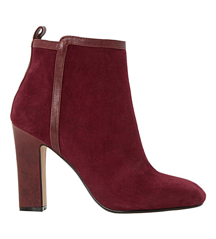 DUNE Oke leather trim ankle boots (Burgundy-suede