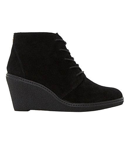 DUNE Pip suede wedge ankle boots (Black suede
