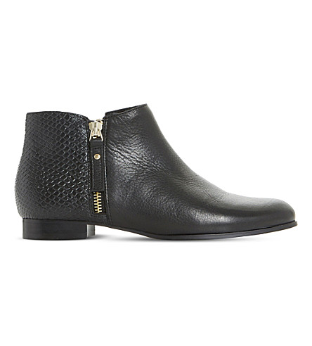 DUNE Pander textyred leather ankle boots (Black-leather
