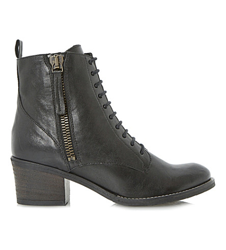 DUNE Percey lace-up leather boots (Black leather