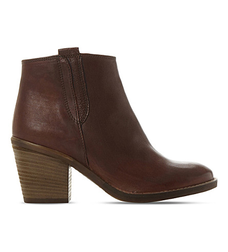 DUNE Poppie leather heeled ankle boots (Tan-leather