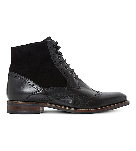 DUNE Philomena leather brogue ankle boots (Black-leather