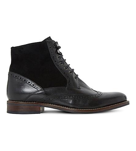 DUNE 菲洛梅娜·默纳汉皮革土音踝靴 (黑色皮革