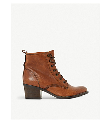 DUNE Leather lace up Patsie ankle boot (Tan-leather