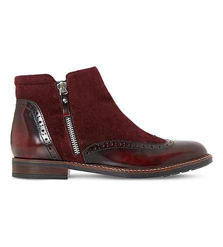DUNE Pandalla leather and suede ankle boots (Burgundy-leather