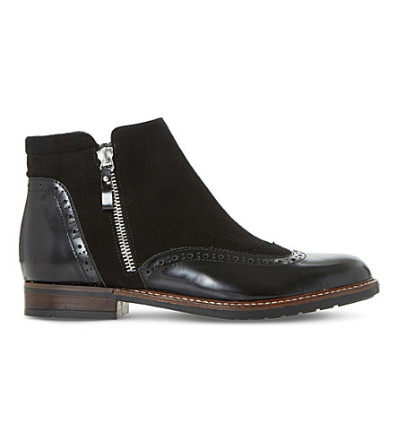 DUNE Pandalla leather and suede ankle boots (Black-leather+mix