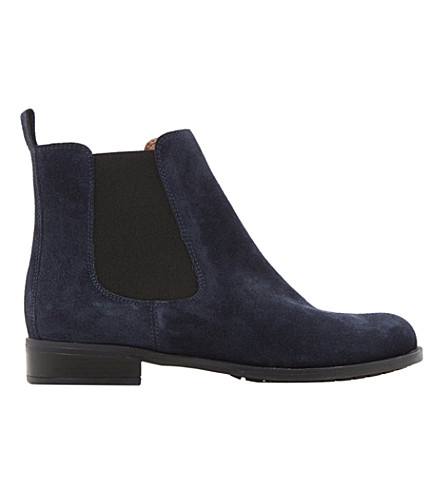 DUNE Parry suede Chelsea boots (Navy suede