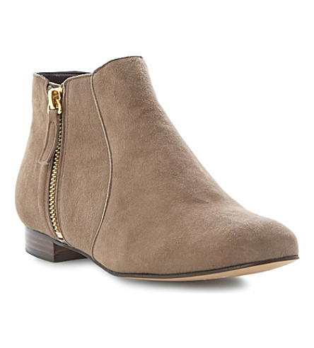 DUNE Pandas side zip ankle boots (Natural-suede