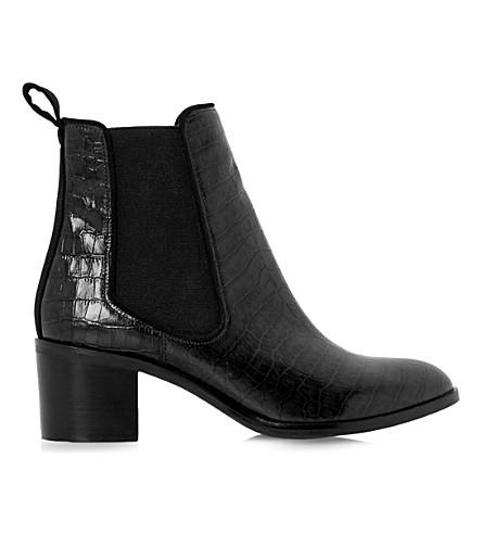 DUNE Quaide leather chelsea boots (Black-croc