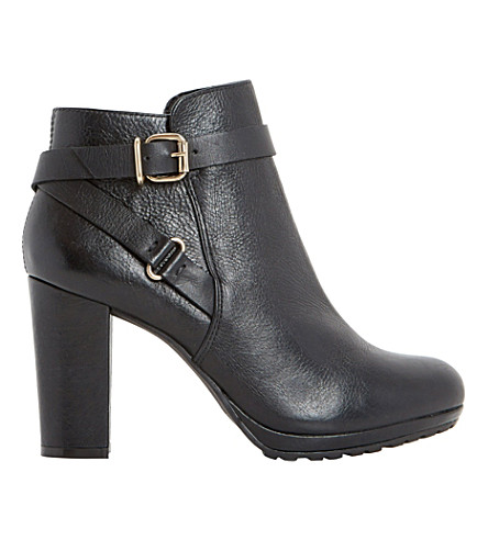 DUNE Puggy leather ankle boots (Black-leather
