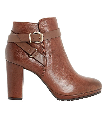 DUNE Puggy leather ankle boots (Tan-leather