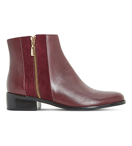 DUNE Pauler leather ankle boots (Berry-leather