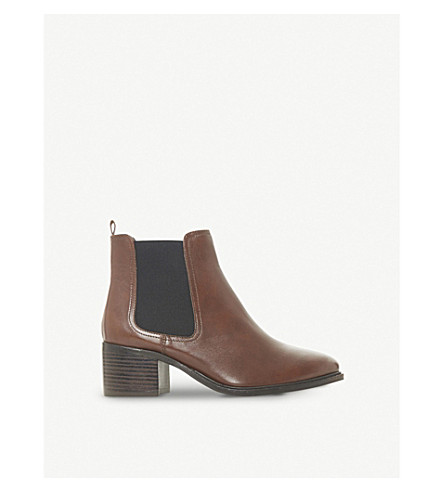 DUNE Paramoor leather heeled chelsea boots (Dark+tan-leather