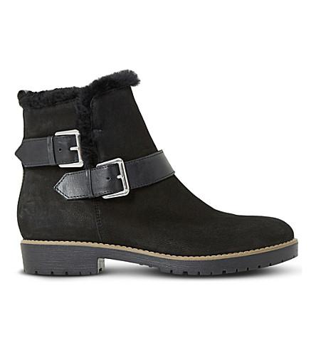 DUNE Persia faux-fur trim ankle boots (Black-nubuck
