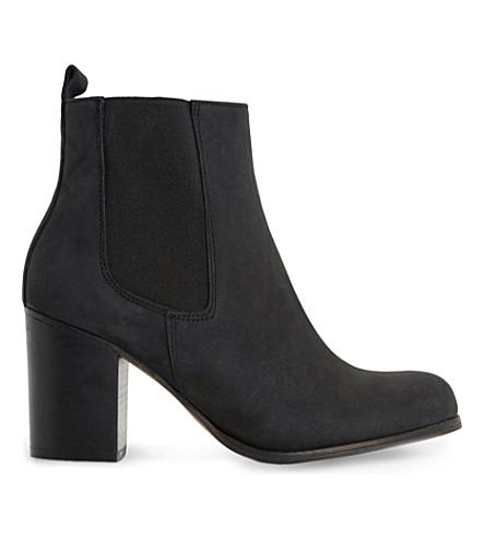 DUNE Prynn leather heeled Chelsea boots (Black nubuck