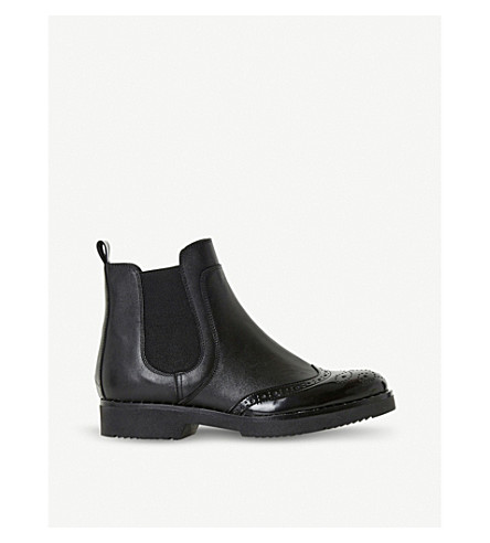DUNE Brogue Chelsea leather ankle boots (Black-leather