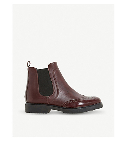 DUNE Brogue Chelsea leather ankle boots (Burgundy-leather