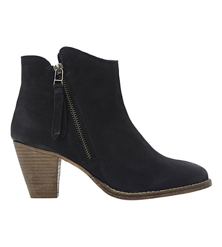DUNE Pollie leather ankle boots (Navy-nubuck