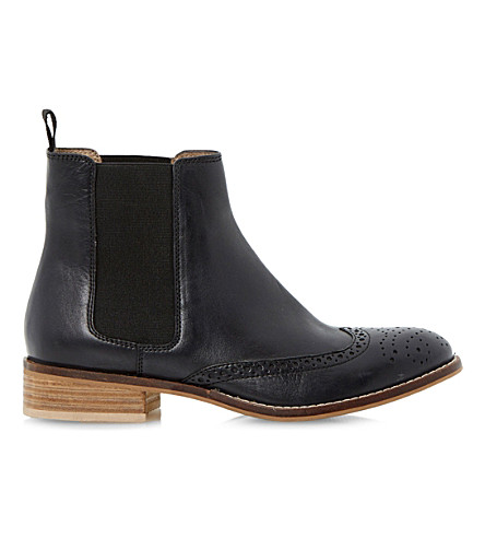 DUNE Quentin leather brogue chelsea boots (Black-leather