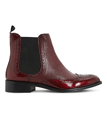DUNE Quenton patent Chelsea boots (Burgundy