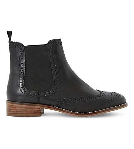 DUNE Brogue leather chelsea boots (Black-leather