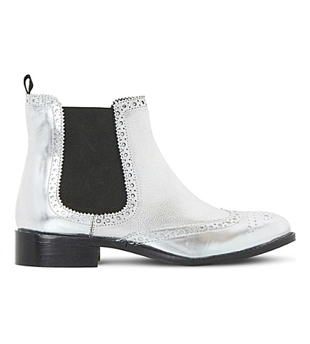 DUNE Quenton leather chelsea boots (Metallic patent