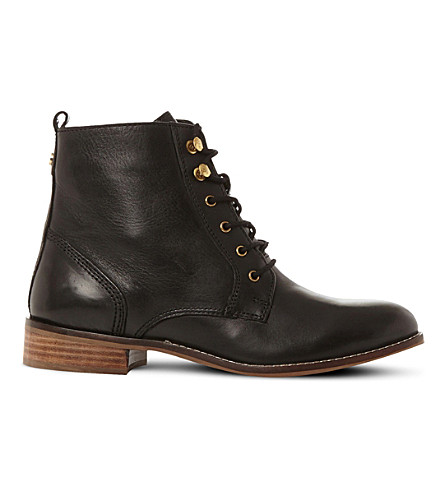 DUNE Quincey leather lace-up boots (Black-leather
