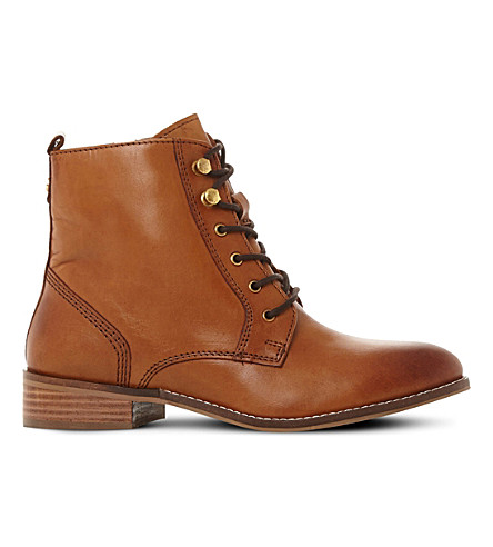 DUNE Quincey leather lace-up boots (Tan-leather