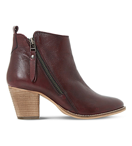 DUNE Pontoon leather ankle boots (Burgundy-leather