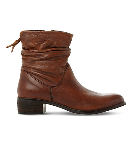 DUNE Pagers ruched leather ankle boots (Tan-leather