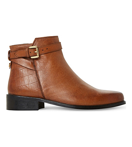 DUNE Poppy ? buckle detail side zip ankle boo (Tan-leather