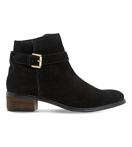 DUNE Pheobie buckle strap ankle boot (Black-suede