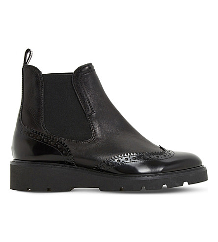 DUNE Paney brogue leather Chelsea boots (Black-leather