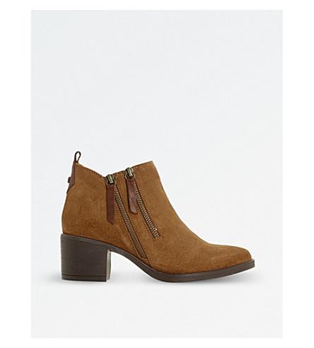 DUNE Pikton double-zip 脚踝靴 (棕麂皮绒
