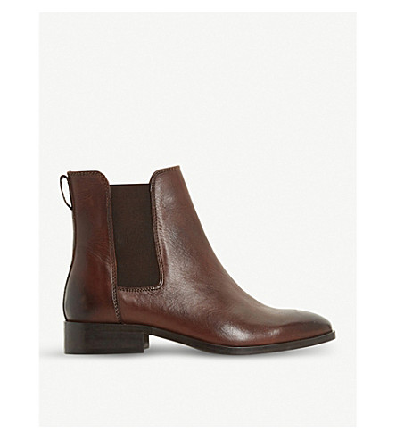 DUNE Clean classic leather Chelsea boots (Brown-leather