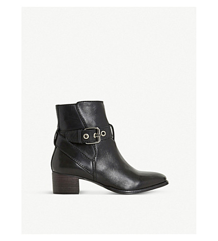 DUNE Perrie buckle-detail leather ankle boots (Black