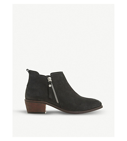 DUNE Putnam cropped leather ankle boots (Black-nubuck