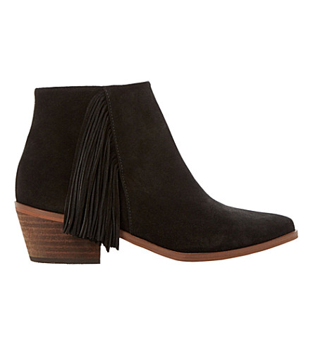 DUNE Preda fringed suede ankle boots (Black-suede
