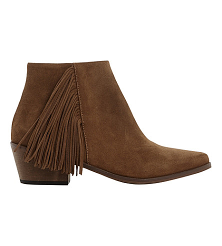 DUNE Preda fringed suede ankle boots (Taupe-suede